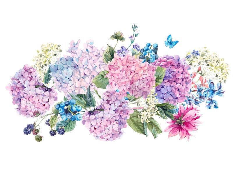 Bouquet floral d'aquarelle avec l'hortensia illustration libre de droits