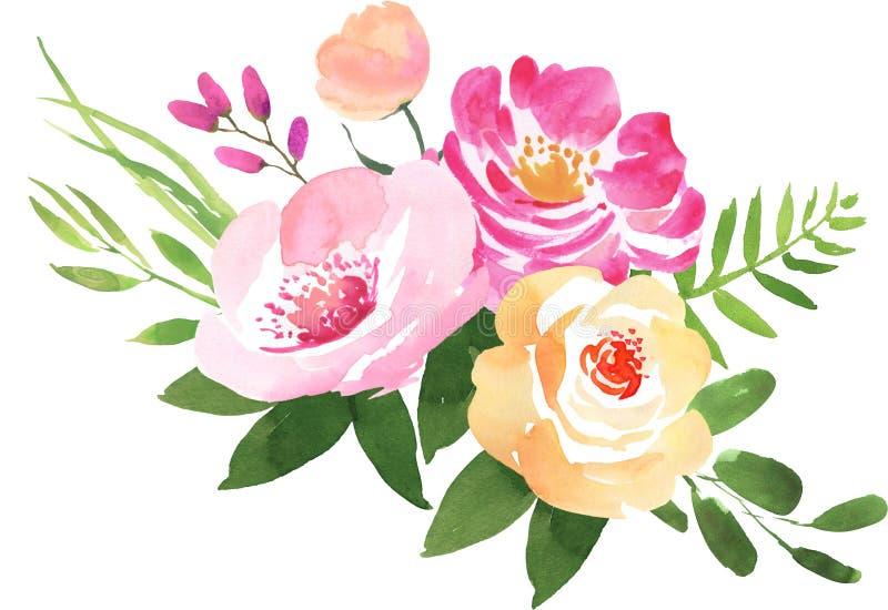 Bouquet floral de mariage avec des roses illustration stock