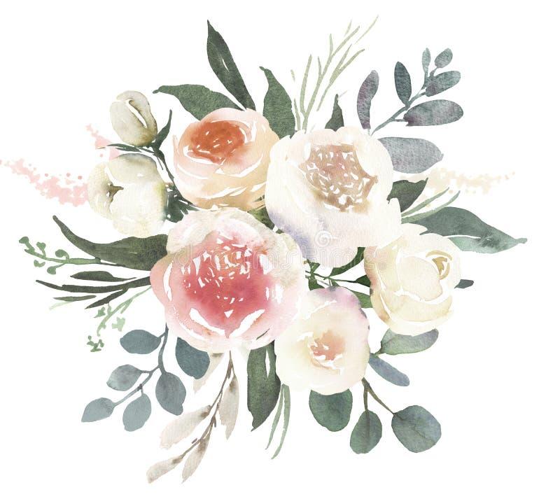 Bouquet floral de mariage d'aquarelle avec les roses blanches a illustration stock