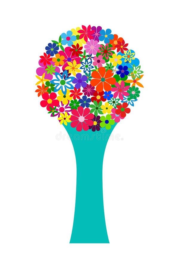Bouquet floral de mosaïque dans le vase bleu, vecteur d'isolement illustration stock