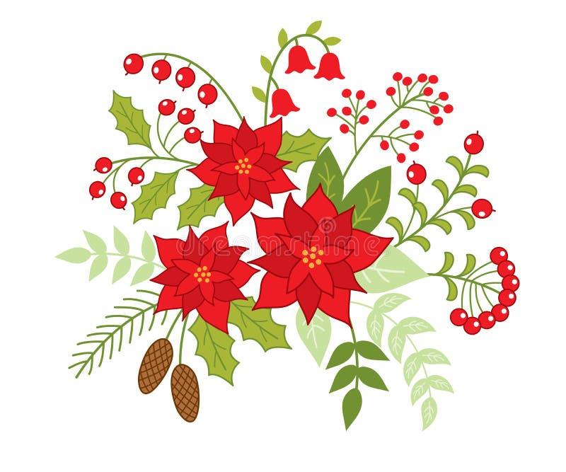 Bouquet floral de Noël de vecteur avec la poinsettia et les baies rouges illustration libre de droits