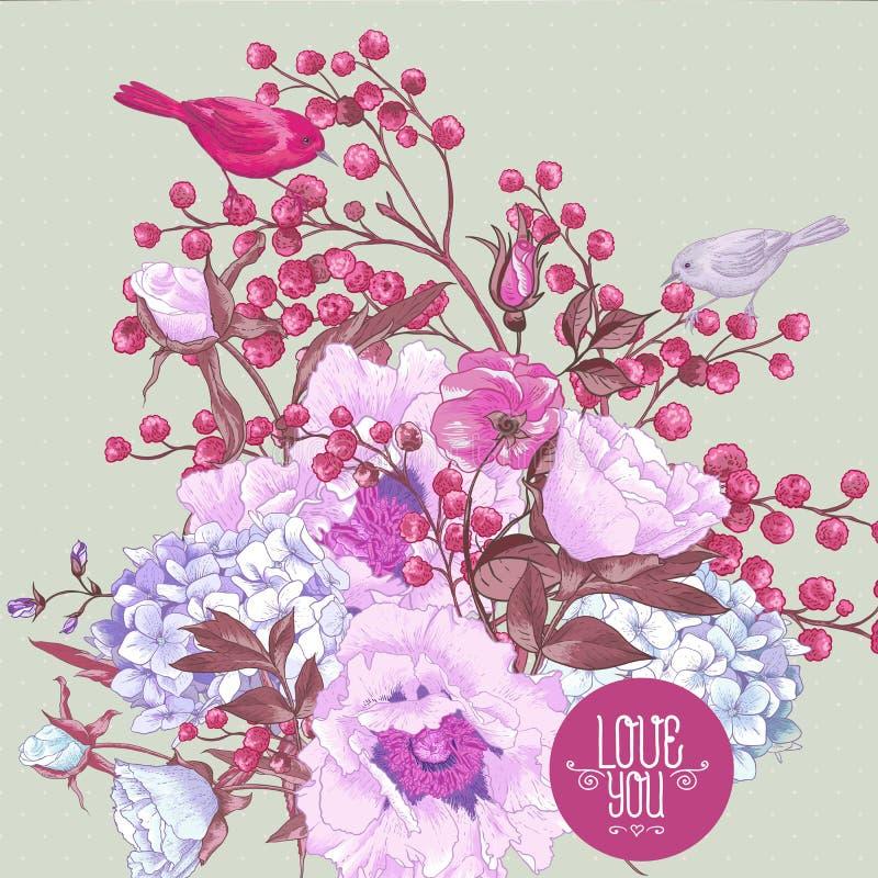 Bouquet floral de ressort doux avec des oiseaux illustration libre de droits