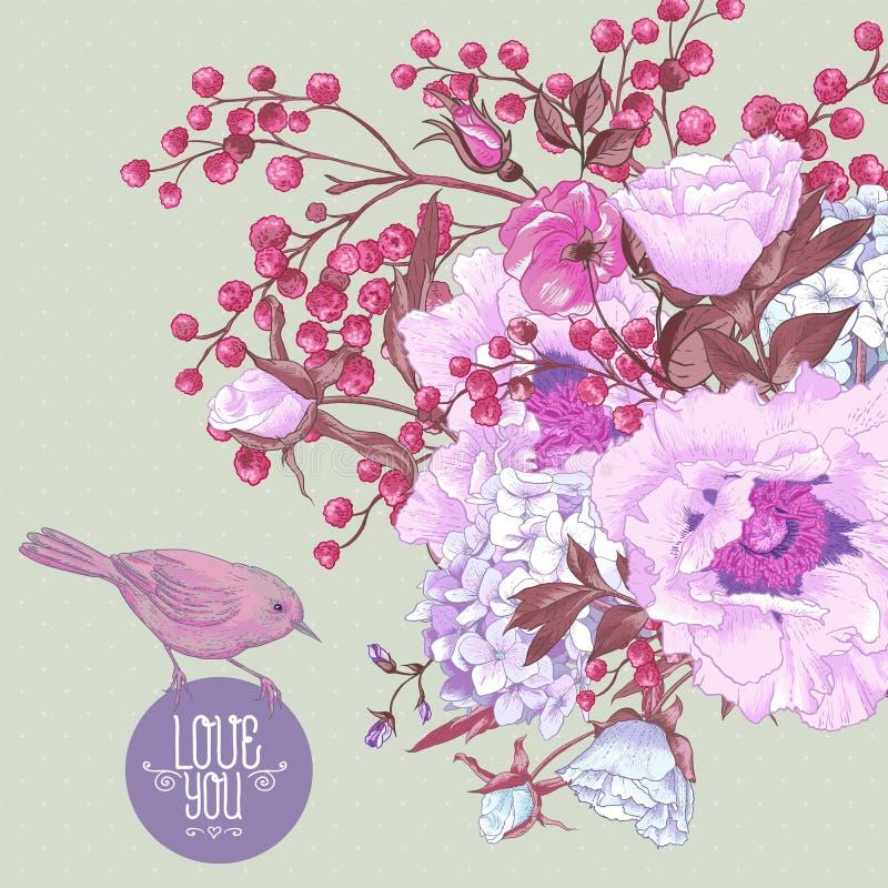 Bouquet floral de ressort doux avec des oiseaux illustration stock