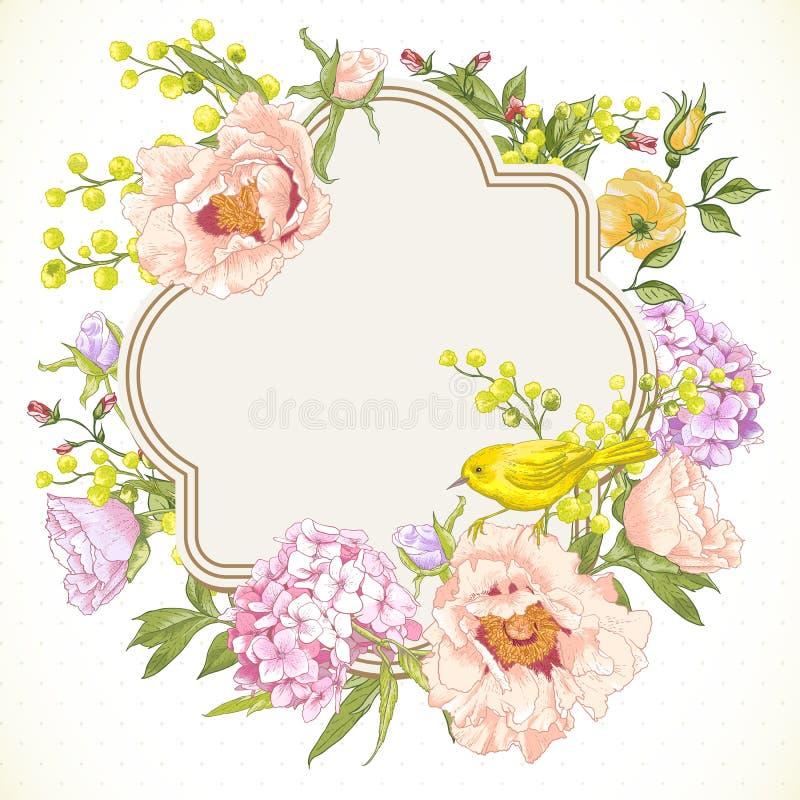 Bouquet floral de vintage de ressort avec des oiseaux illustration stock