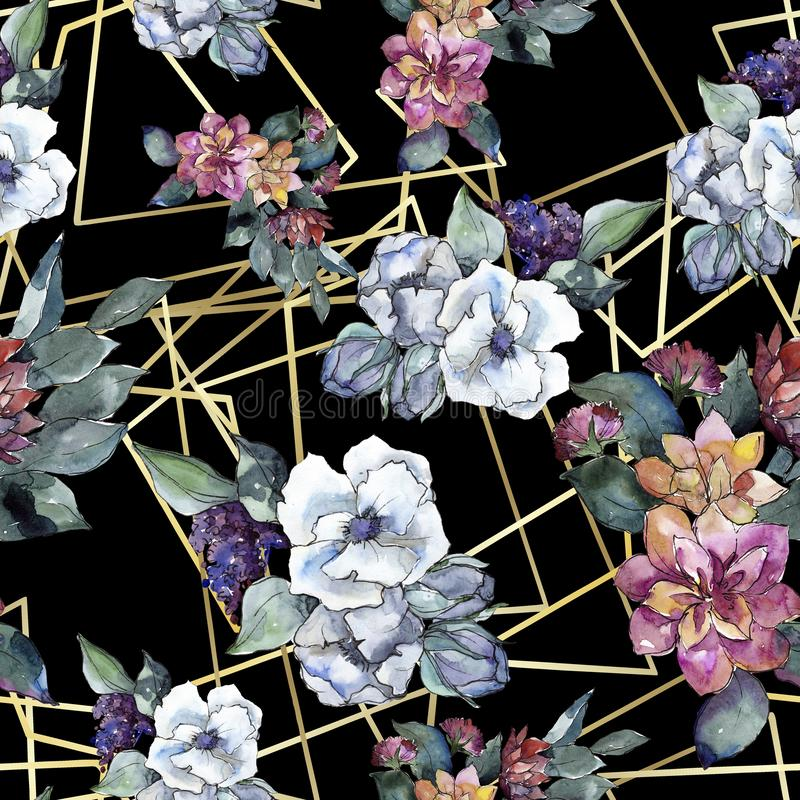 Bouquet floral flower. Watercolor illustration. Watercolour seamless background pattern. Fabric wallpaper print texture. Bouquet floral botanical flower stock photography