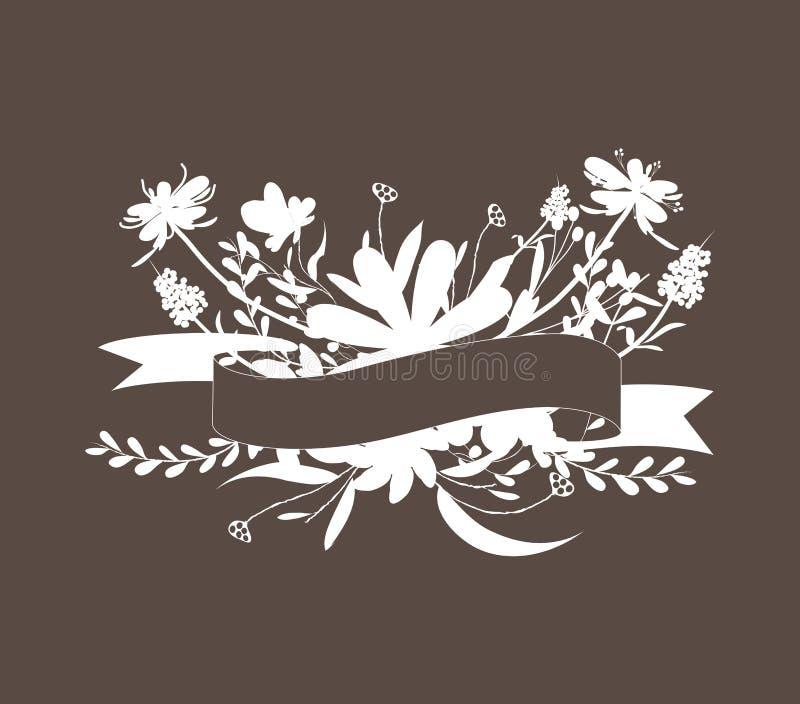 Bouquet floral mignon sur le fond noir illustration de vecteur
