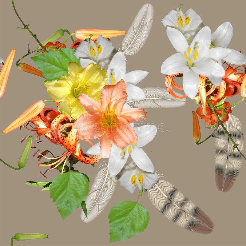 Bouquet floral sans couture sur le fond beige photos libres de droits