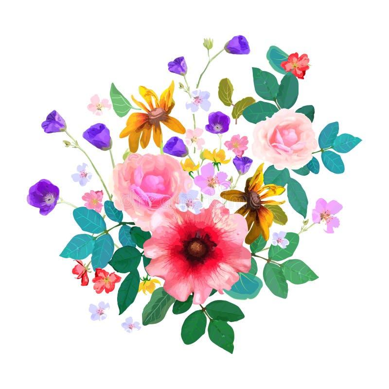 Bouquet floral tiré par la main avec des fleurs et des feuilles Vecto illustration stock