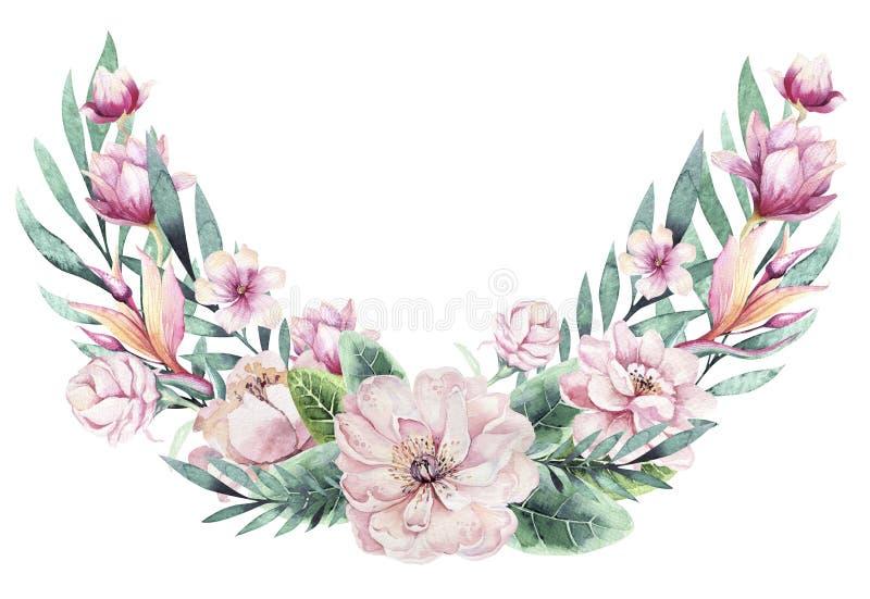 Bouquet floral tiré par la main d'aquarelle avec des plantes tropicales et des fleurs illustration stock