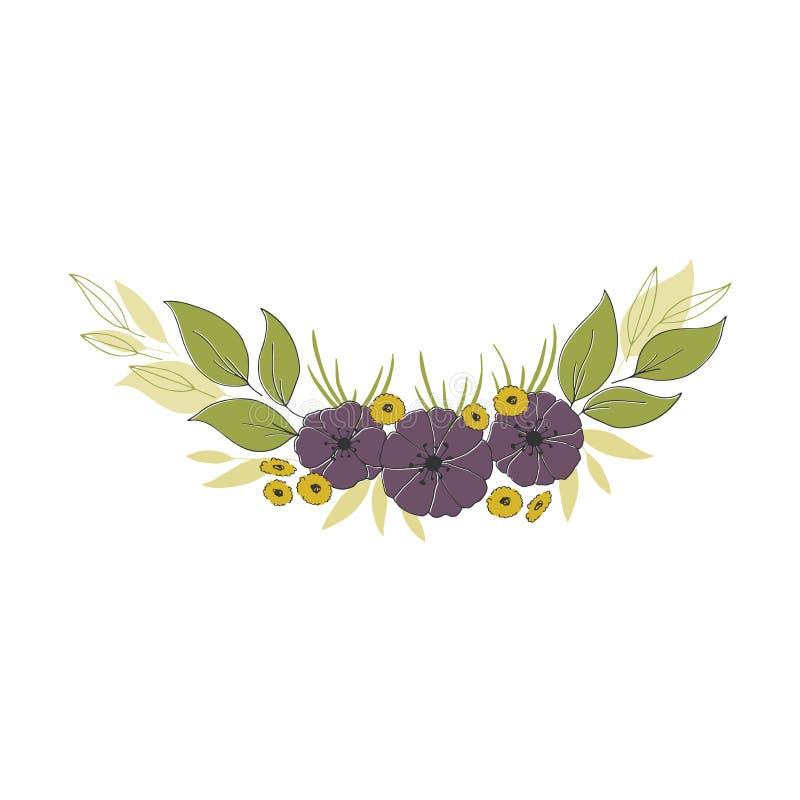 Bouquet floral tiré par la main Fleurs et feuilles dans la disposition élégante illustration de vecteur