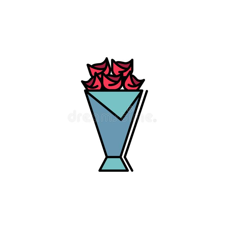 Bouquet, flower, love, roses icon. Element of feminism illustration. Premium quality graphic design icon. Signs and symbols. Collection icon for websites, web royalty free illustration