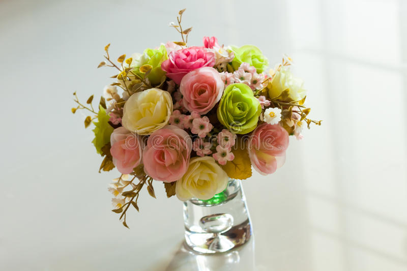 Bouquet flower in vase royalty free stock photography