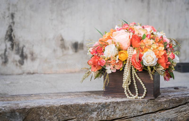 Bouquet flower in vase. Vintage effect filter royalty free stock images