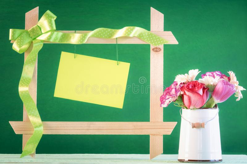 Flowers and frame with message card royalty free stock photos