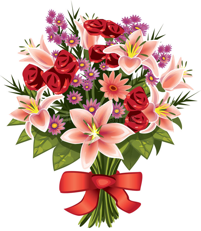 Bouquet of flowers stock illustration