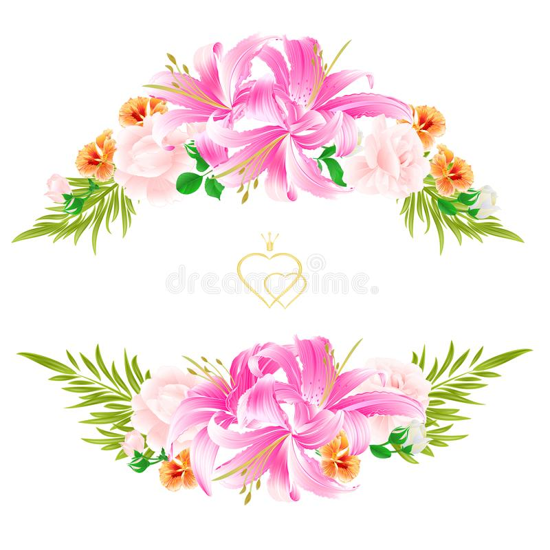 Bouquet with flowers arrangement with beautiful lilieslight pink bouquet with flowers arrangement with beautiful lilieslight pink roses and watercress vintage vector illustration editable hand draw mightylinksfo