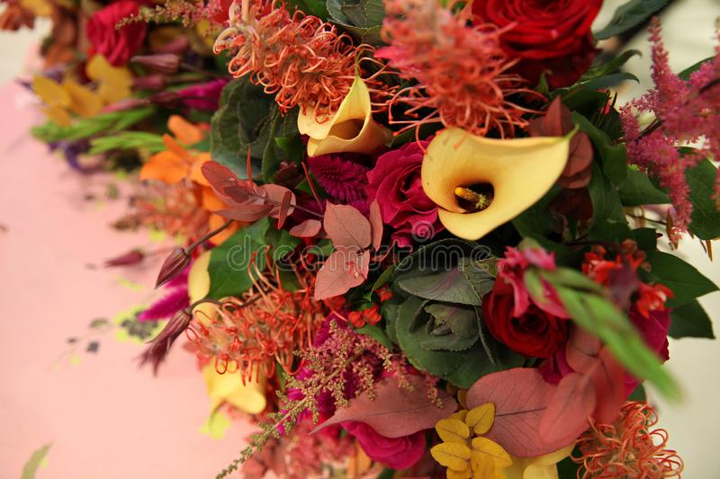 Bouquet of flowers in autumn colors stock photography