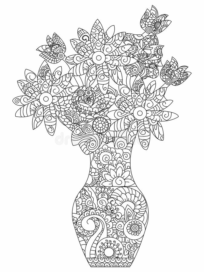 Bouquet of flowers coloring vector for adults. Bouquet of flowers coloring book for adults vector illustration. Flower anti-stress coloring for adult daisy royalty free illustration