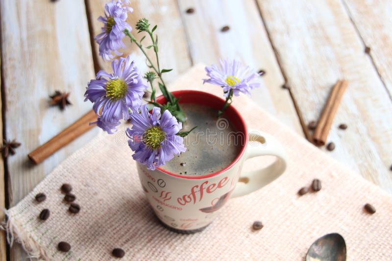 Bouquet of flowers in a cup of coffee on wooden background as a symbol of refreshment stock image