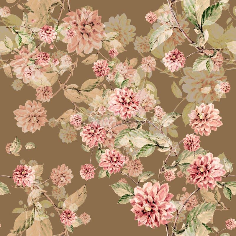 Bouquet flowers dahlia watercolor seamless pattern vector illustration