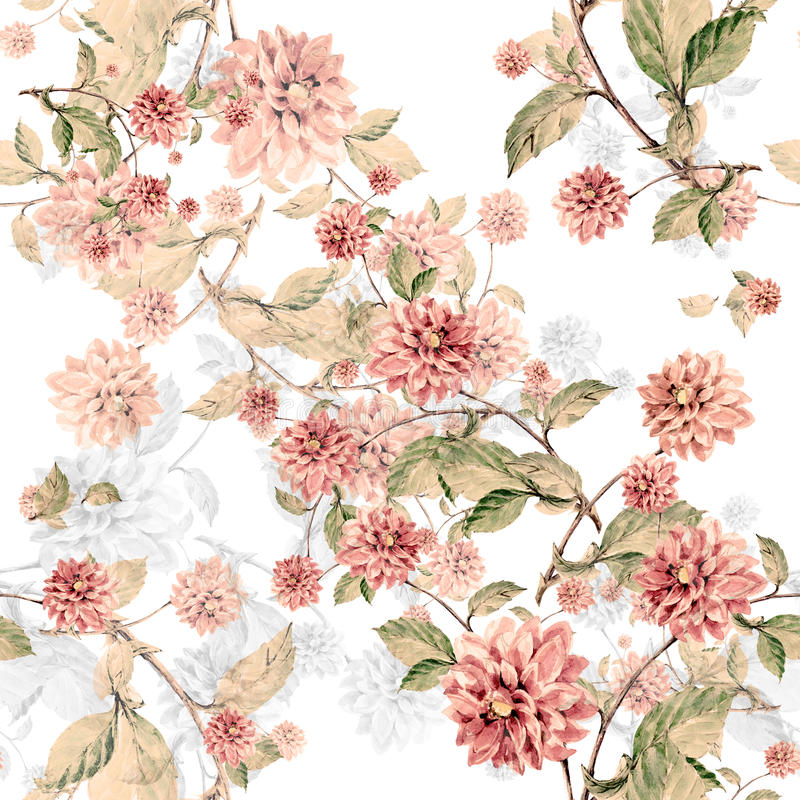 Bouquet flowers dahlia watercolor seamless pattern royalty free illustration
