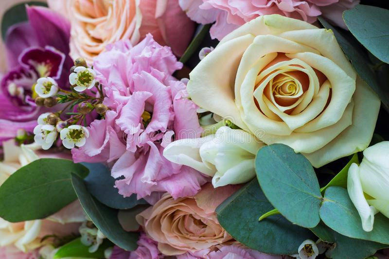 Bouquet of flowers in gentle tones close up floral background stock image