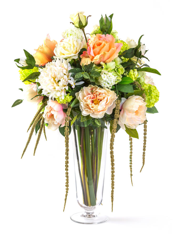Bouquet Of Flowers In Glass Vase Royalty Free Stock Photos ...