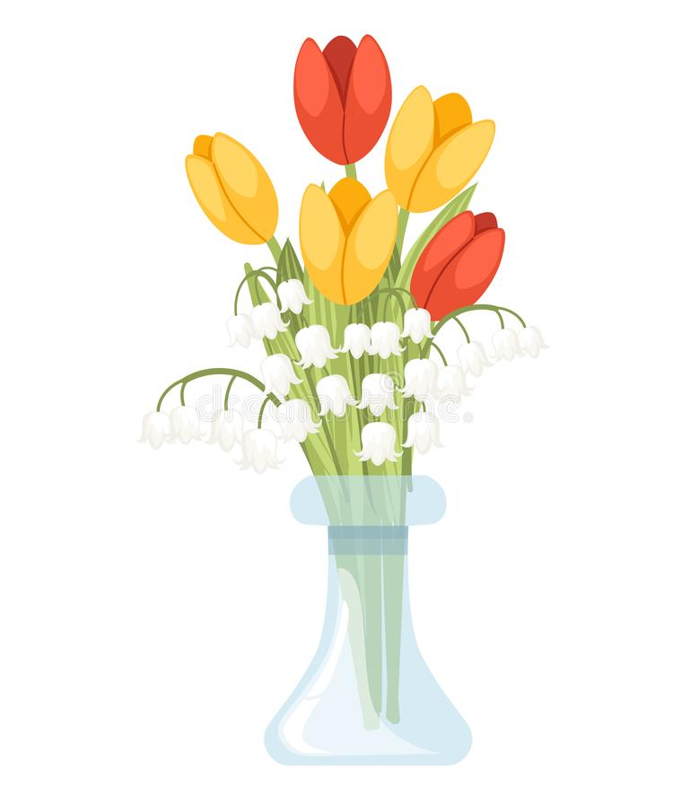 A bouquet of flowers in glass vase. Spring red and yellow tulip with Convallaria majalis. Lilly of the valley. Green flower vector illustration