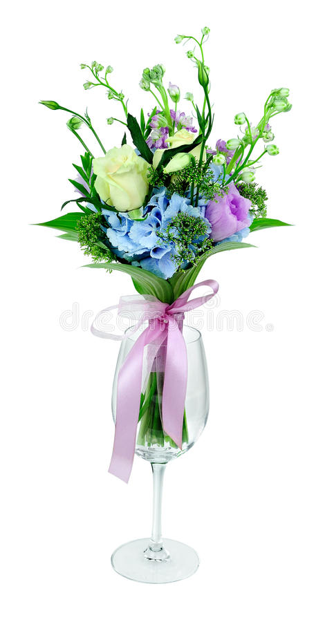 Download Bouquet Of Flowers In A Glass On A White Background Stock Photo - Image: 28781418