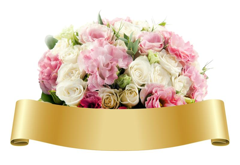 Bouquet of Flowers and golden Ribbon royalty free stock photo