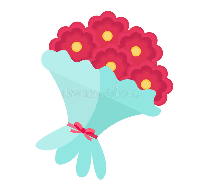 bouquet of flowers icon flat design isolated on white background rh dreamstime com bouquet of red roses clipart bouquet of roses clipart