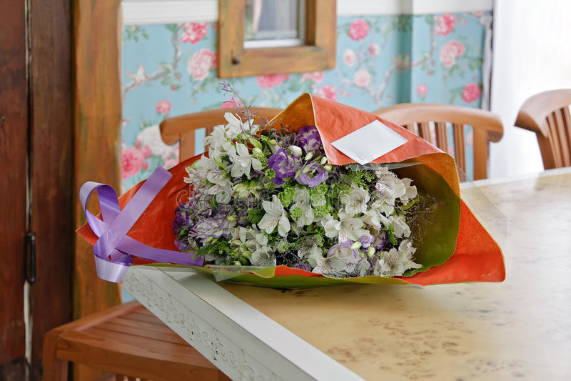 bouquet of flowers in the interior stock photography