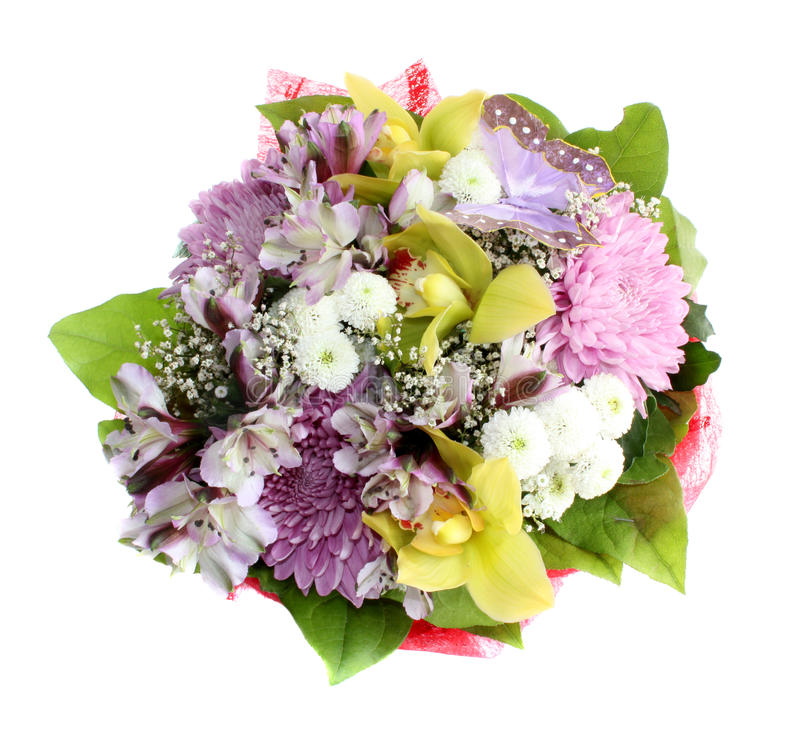 Bouquet flowers isolated. stock photo