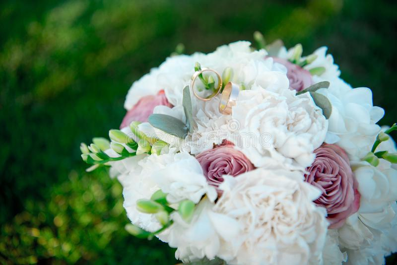 Bouquet flowers love day valentine marriage background decoration concept wooden green grass royalty free stock photo