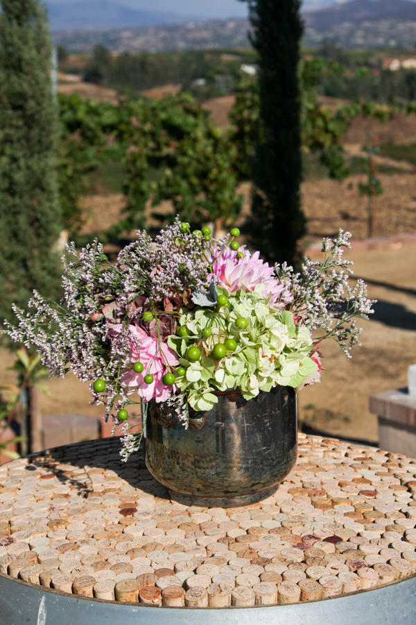 Bouquet of Flowers in a Metal Bowl stock image