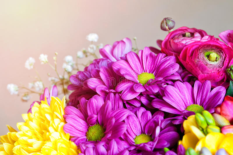 Bouquet of flowers. Postcard romantic background. Macro royalty free stock image