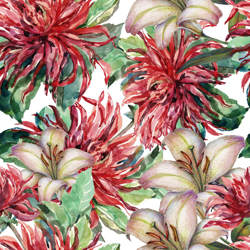 Bouquet flowers, red dahlia, lily, watercolor, pattern seamless vector illustration