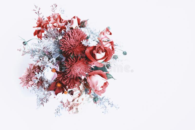Bouquet of autumn flowers in red, burgundy and shades of Red Pear. Fashionable colors autumn winter 2018. Ingredients stock images