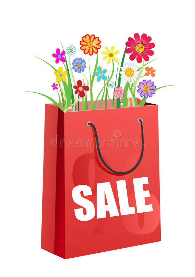 Bouquet of flowers in the red shopping bag. Vector illustration stock illustration