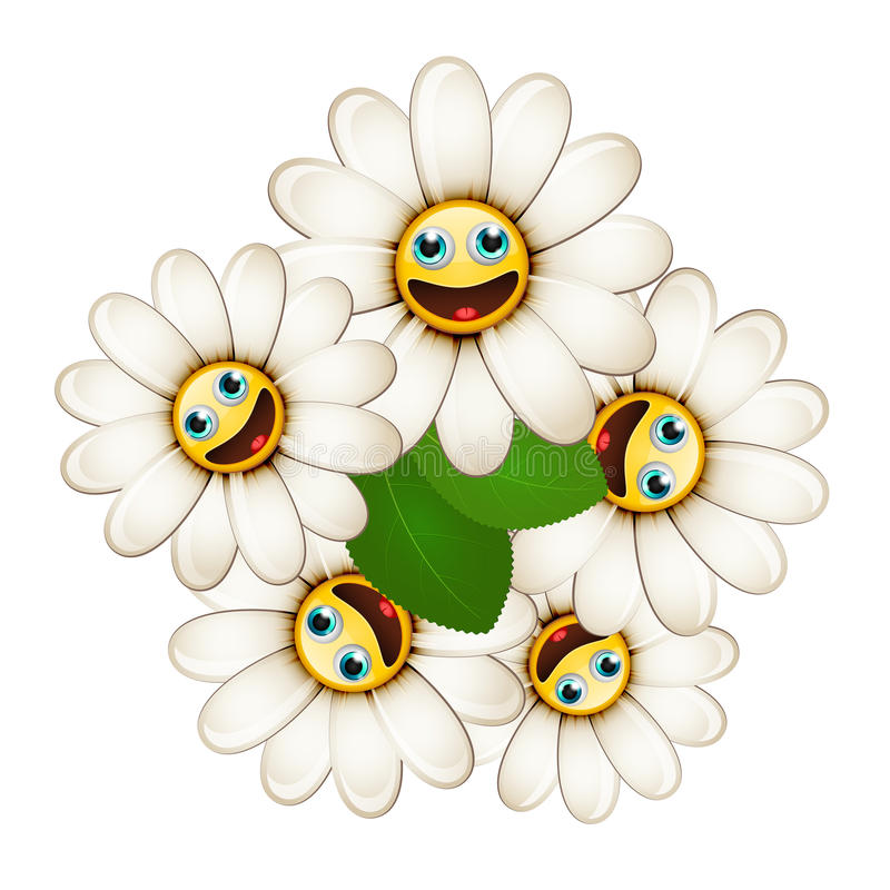 Bouquet of flowers with smiling daisies royalty free illustration