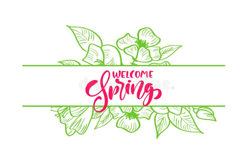Bouquet of flowers vector greeting card with red handwritten text Hello Spring. Isolated flat frame illustration on royalty free illustration