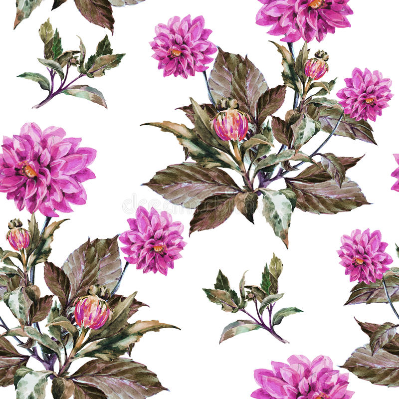 Bouquet flowers, violet dahlia, watercolor, pattern seamless stock illustration