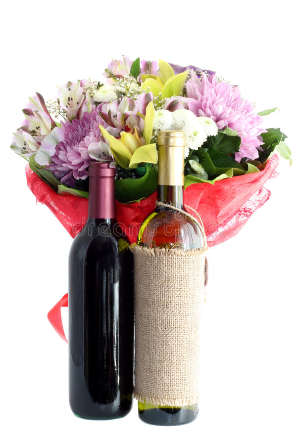 Bouquet flowers and wine isolated. royalty free stock photos