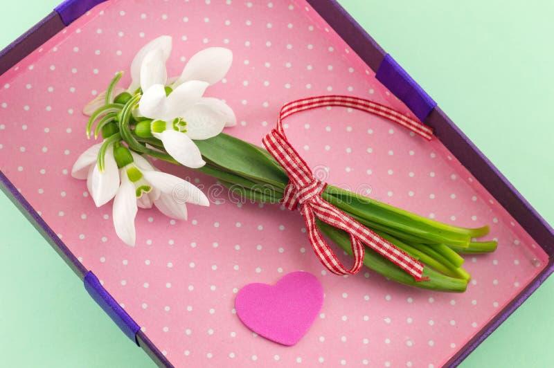 Bouquet frais de perce-neige dans la boîte romantique images stock