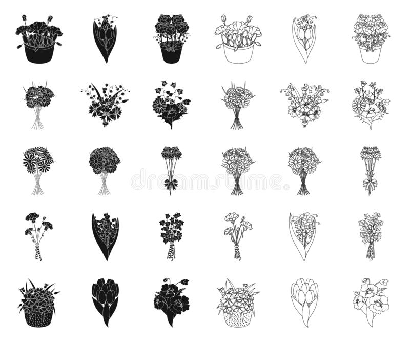 A bouquet of fresh flowers black,outline icons in set collection for design. Various bouquets vector symbol stock web royalty free illustration