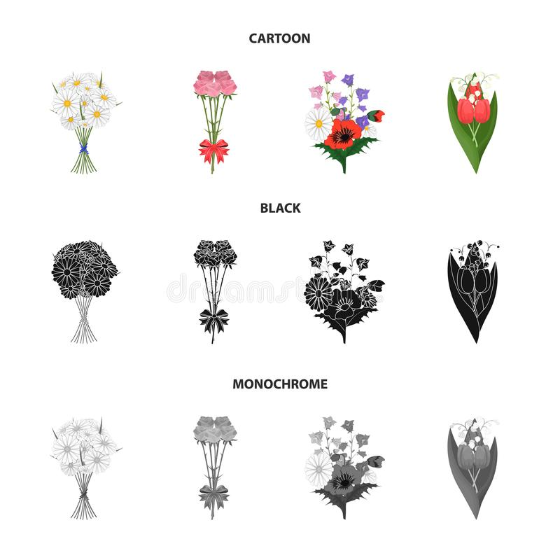 A bouquet of fresh flowers cartoon,black,monochrome icons in set collection for design. Various bouquets vector symbol. Stock illustration royalty free illustration