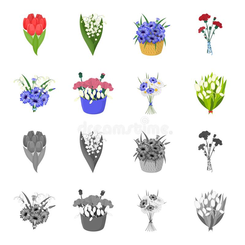 A bouquet of fresh flowers cartoon,monochrome icons in set collection for design. Various bouquets vector symbol stock. Illustration stock illustration