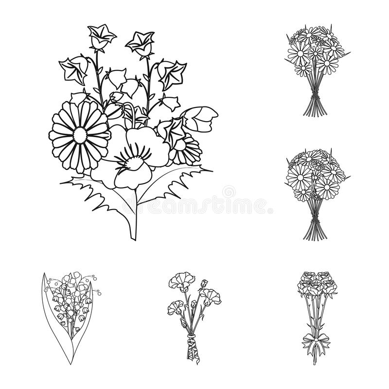 A bouquet of fresh flowers outline icons in set collection for design. Various bouquets vector symbol stock web. A bouquet of fresh flowers outline icons in set royalty free illustration