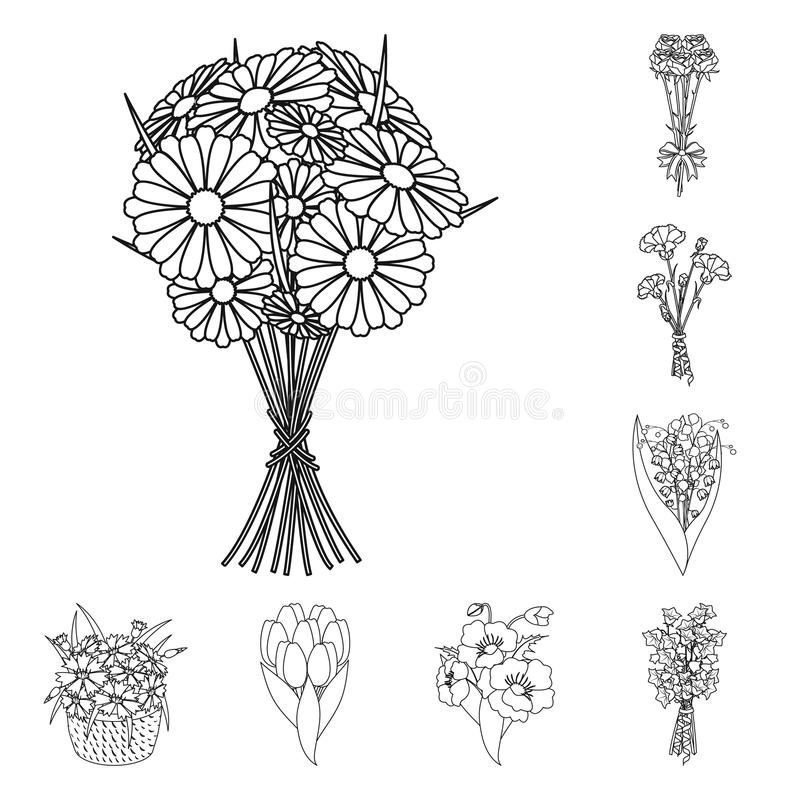 A bouquet of fresh flowers outline icons in set collection for design. Various bouquets vector symbol stock web vector illustration