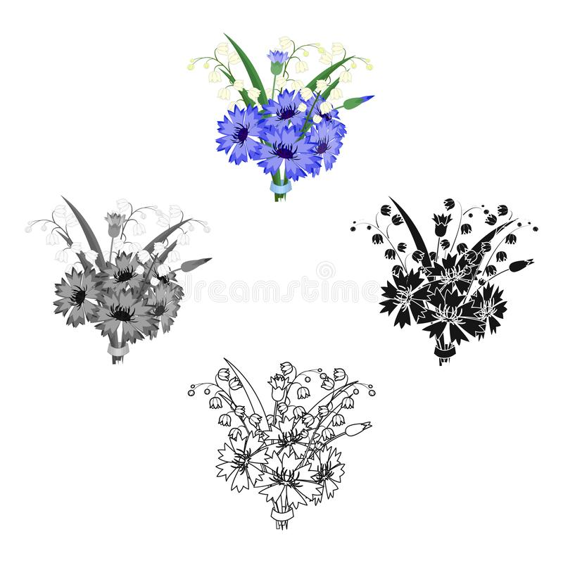 A bouquet of fresh flowers single icon in cartoon,black,black,monochrome,outline style for design. Bouquet vector symbol. Stock illustration stock illustration